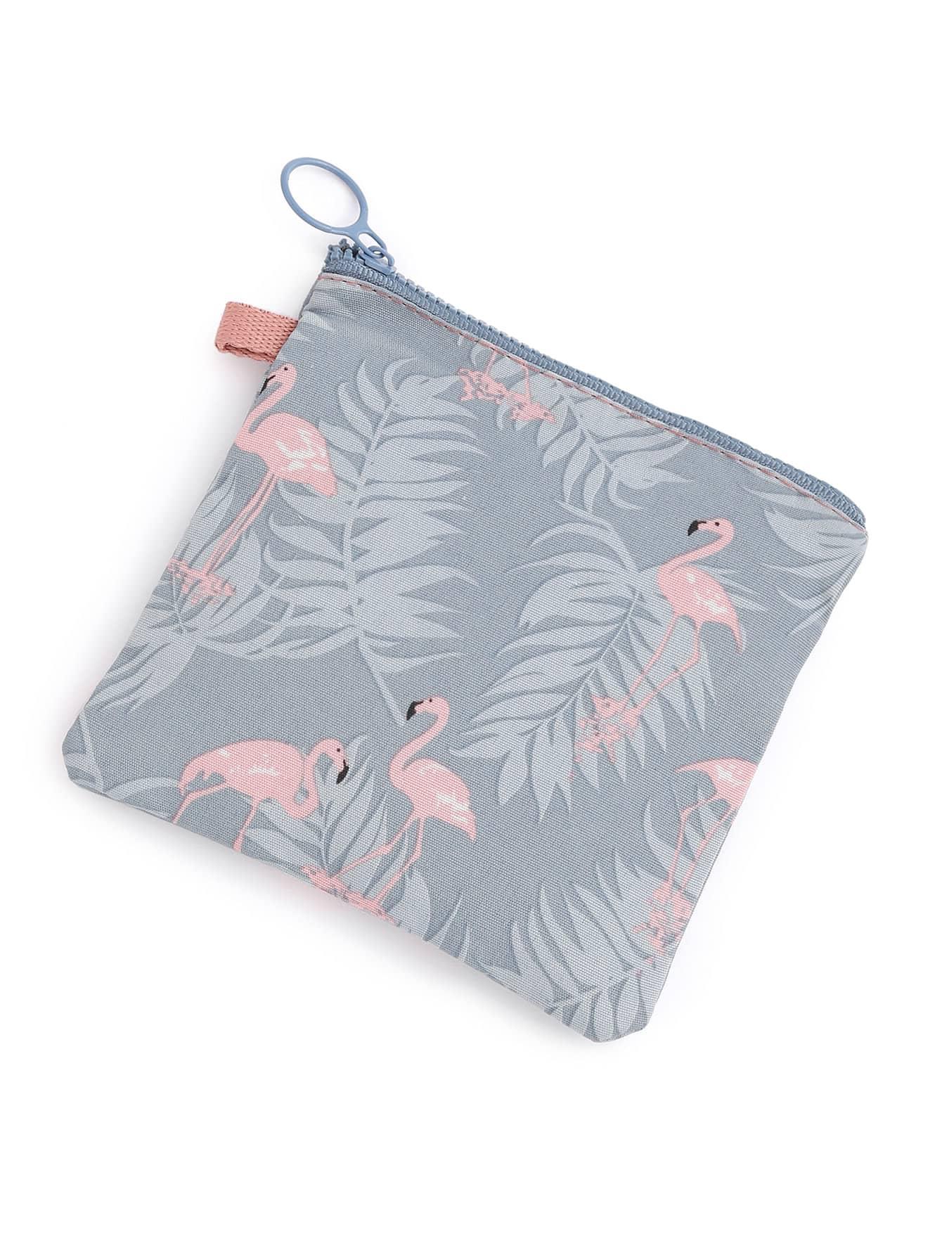 Flamingo & Jungle Print Makeup Bag
