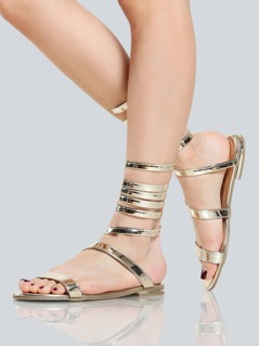 Metallic Entwined Sandals GOLD