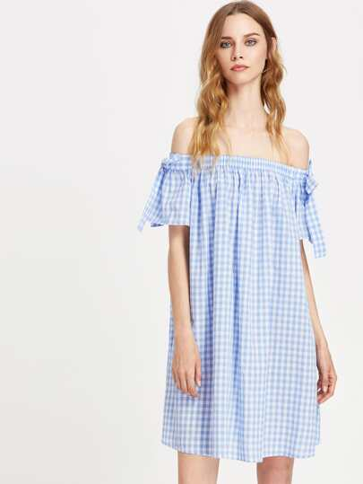 Bow Embellished Sleeve Bardot Neck Gingham Dress