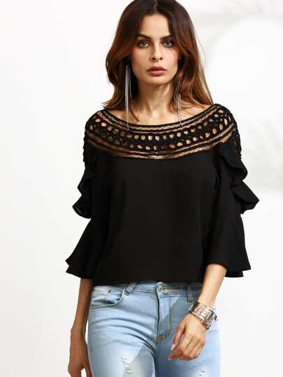 Crochet Neck Bell Sleeve Ruffle Top