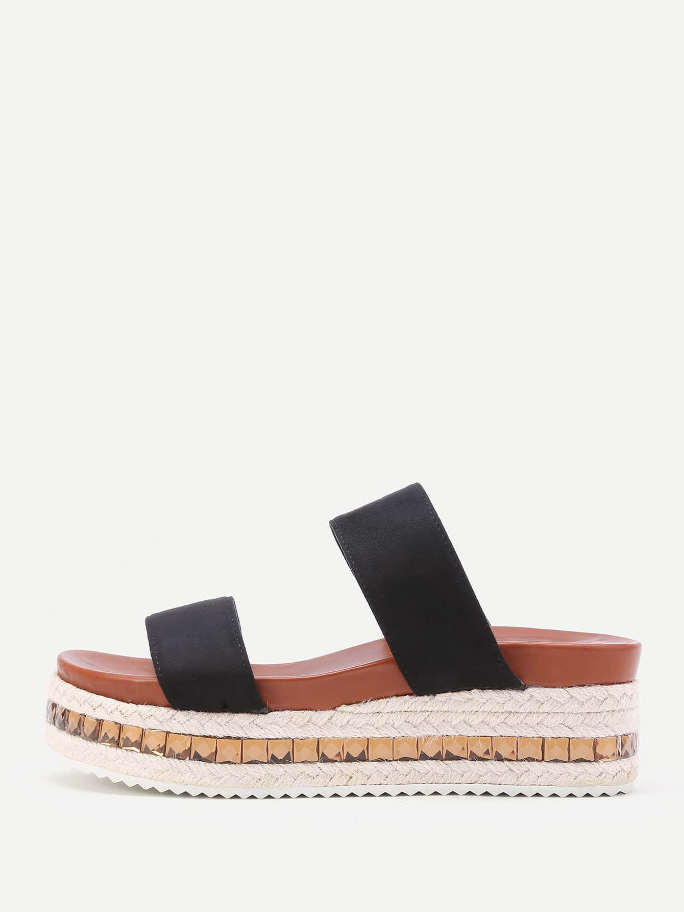 Image of Strappy Woven Flatform Slip On Sandals