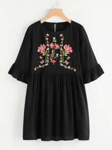 Botanical Embroidered Trumpet Sleeve Smock Dress