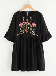 Botanical Embroidered Trumpet Sleeve Smock Dress