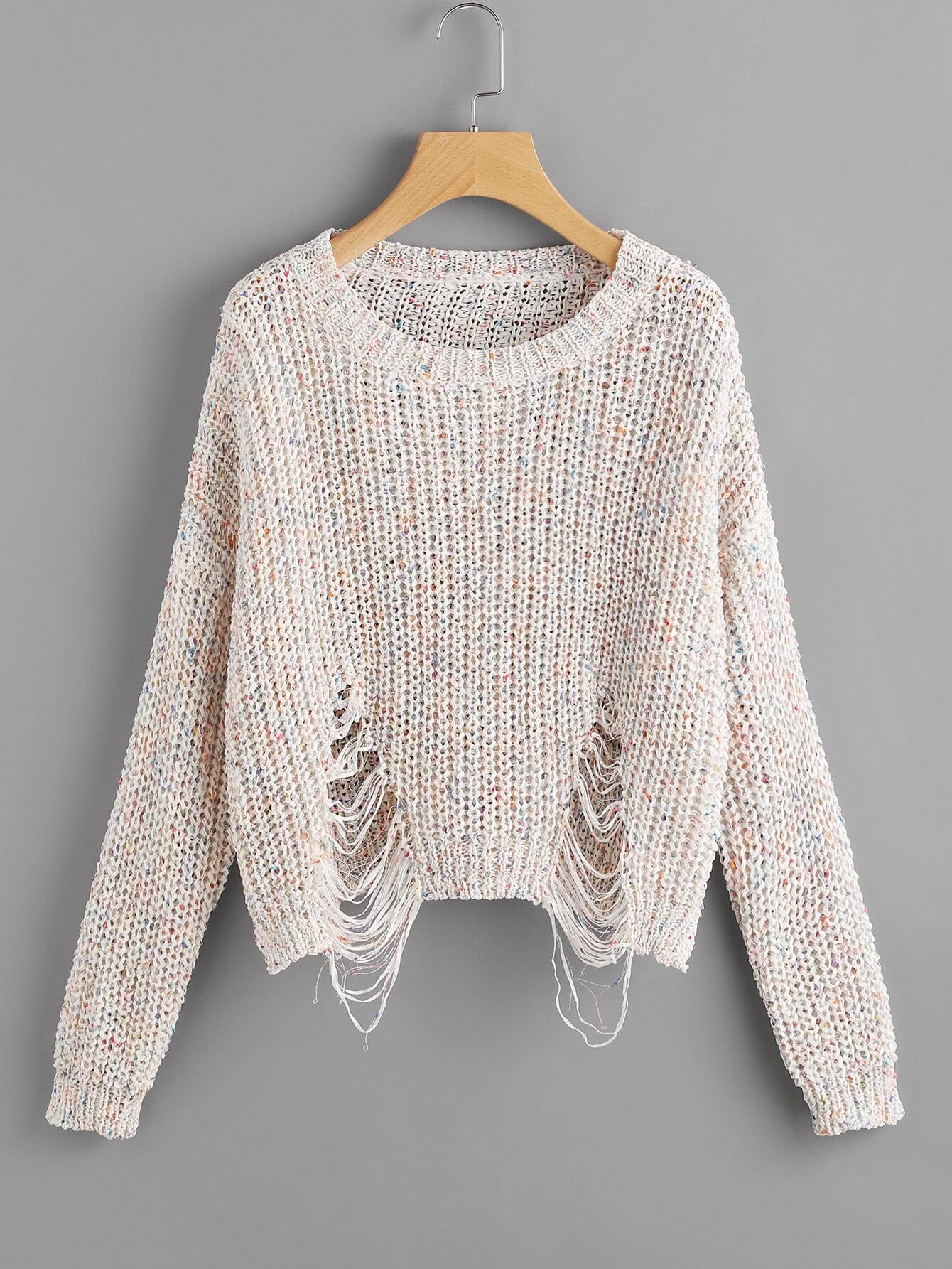 Marled Loose Knit Ripped Jumper sweater170628459