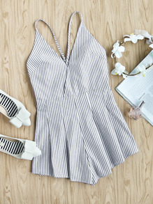 Surplice Front Crisscross Back Pleated Striped Playsuit