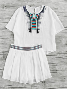 Geo Applique Tassel Tie Neck Top With Box Pleated Shorts
