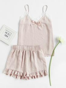 Lace Trim Bow Detail Cami And Ruffle Shorts Pajama Set