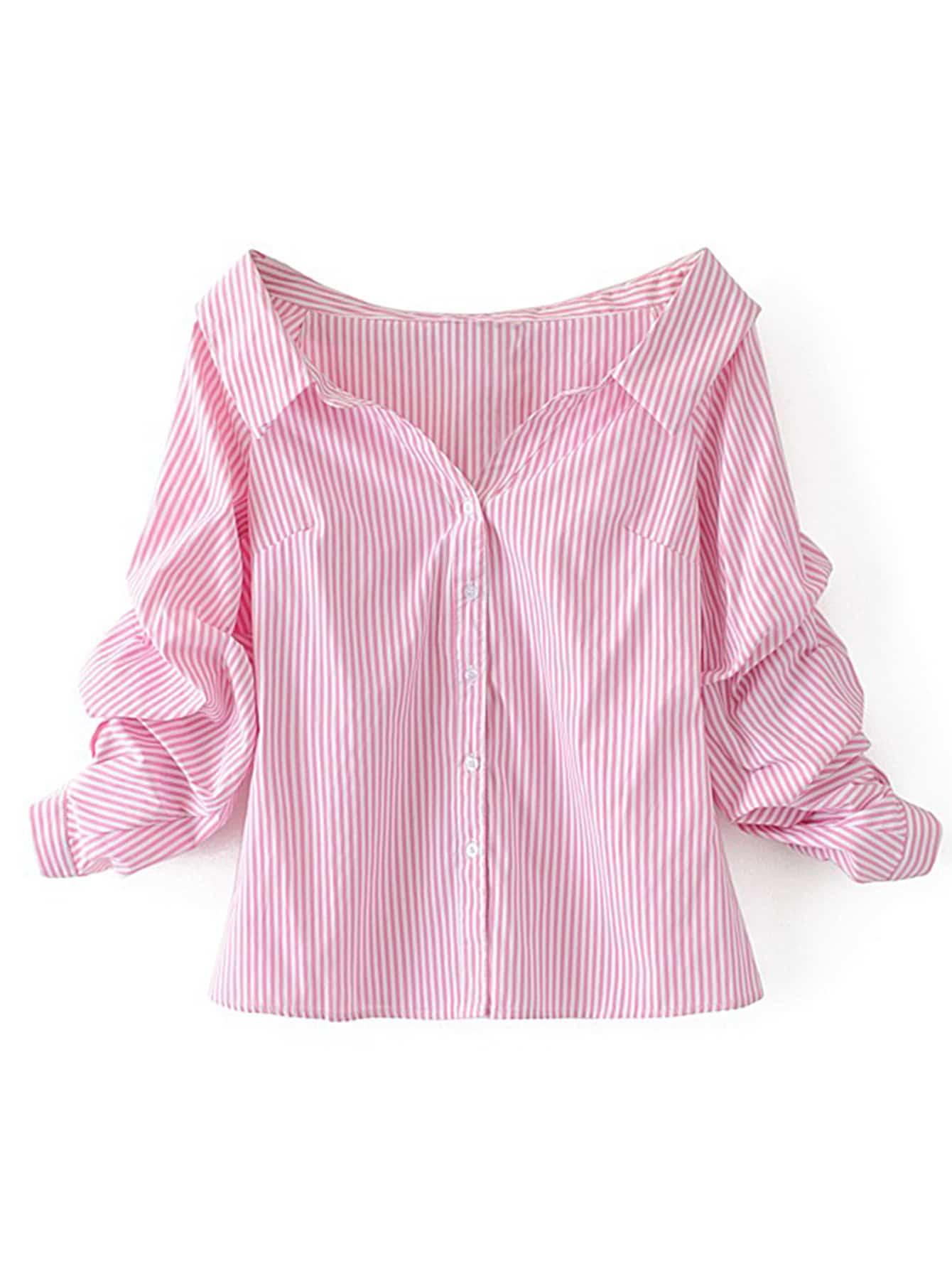 Фото Off Shoulder Single Breasted Blouse. Купить с доставкой