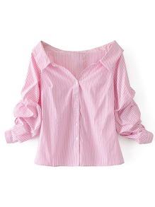 Off Shoulder Single Breasted Blouse