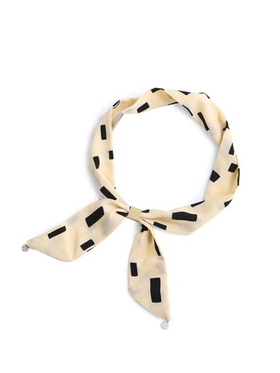 Geometric Print Twilly Scarf With Round Pendant