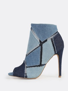 Peep Toe Denim Mesh Bootie BLUE DENIM