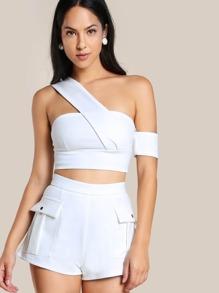 Strappy Bardot Crop & Matching Short Set WHITE