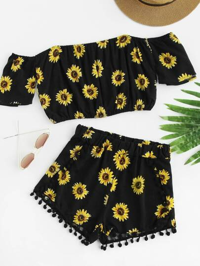 Bardot Sunflower Print Crop Top With Pom Pom Shorts