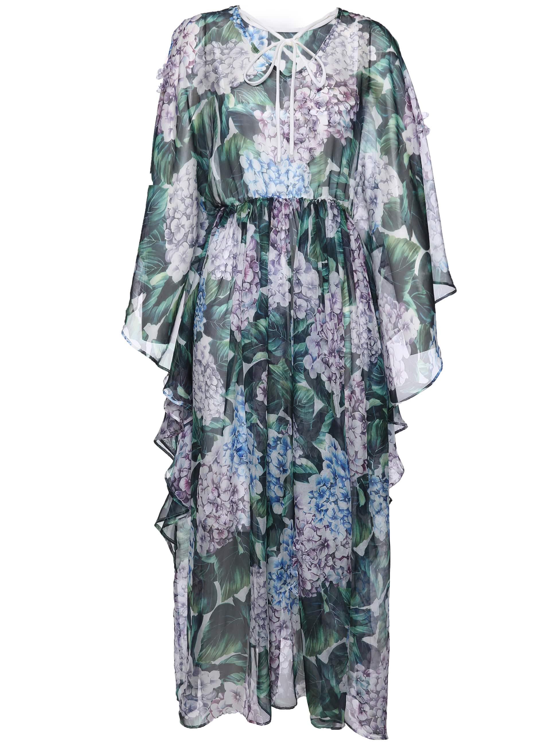 Фото Tie Neck Split Sleeve Ruffle Print Dress. Купить с доставкой