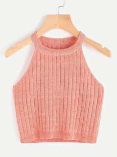 Marled Knit Ribbed Halter Neck Tank Top