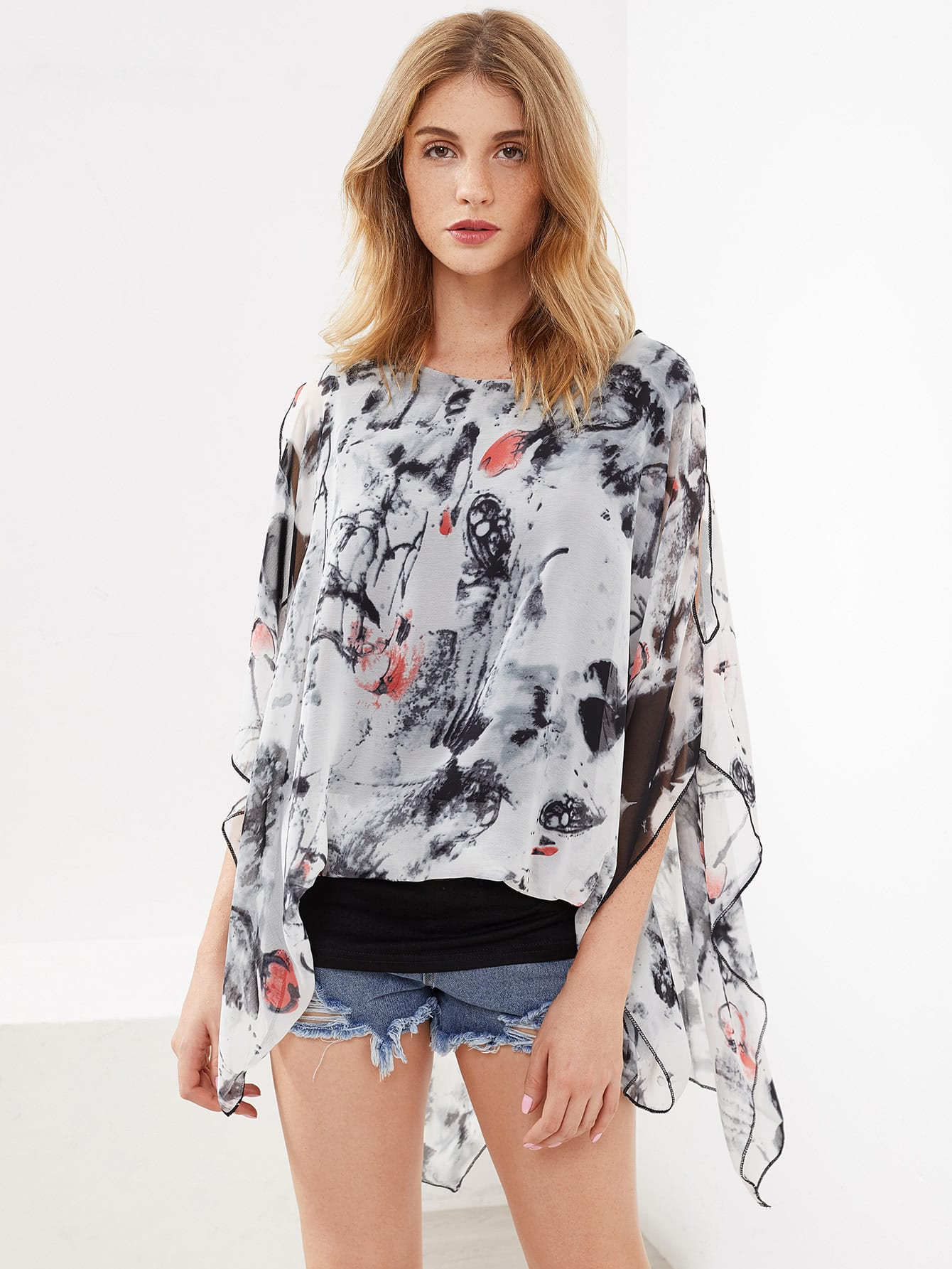 Фото Ink Painting Print Open Shoulder Kaftan Top. Купить с доставкой