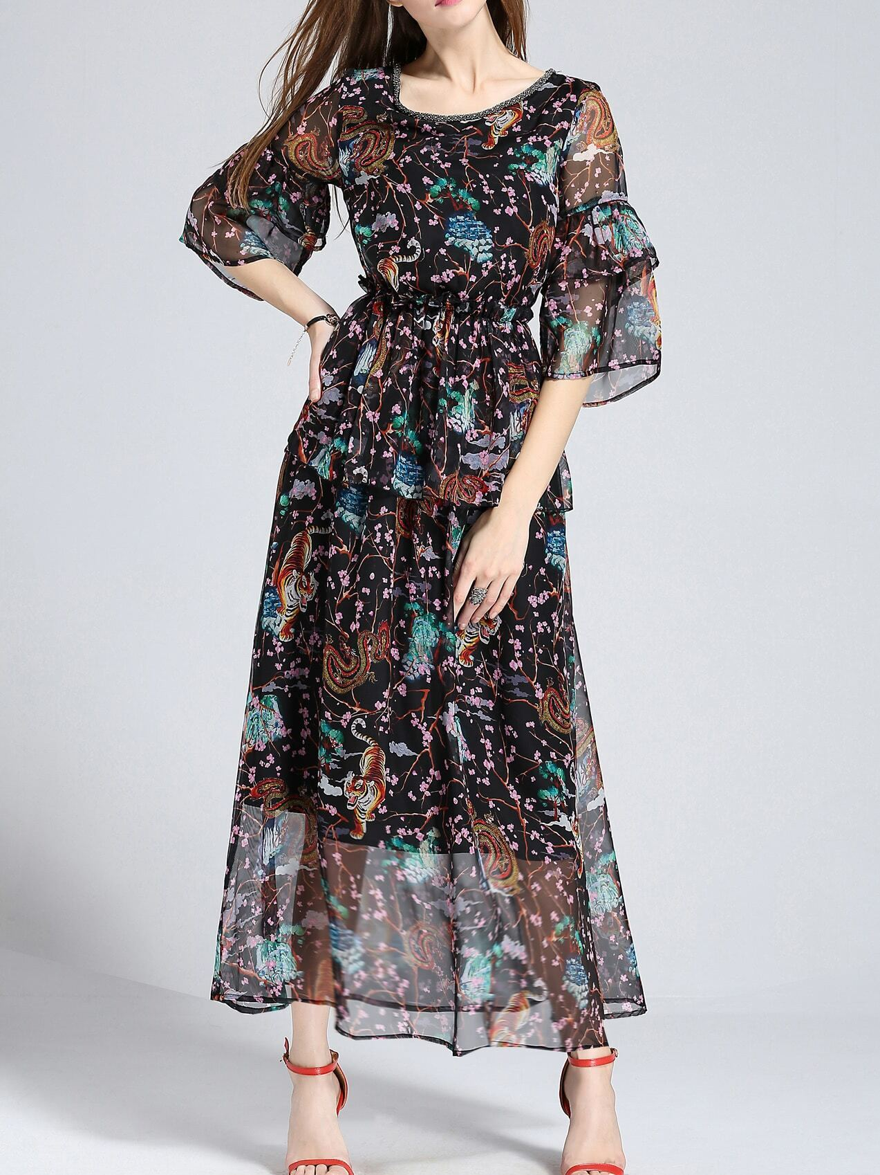 Фото Beading Neck Bell Sleeve Print Dress. Купить с доставкой