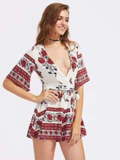 Tribal Print Tie Waist Playsuit