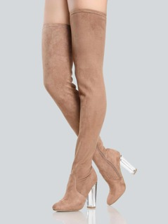 Round Toe Clear Heel Thigh Highs CAMEL