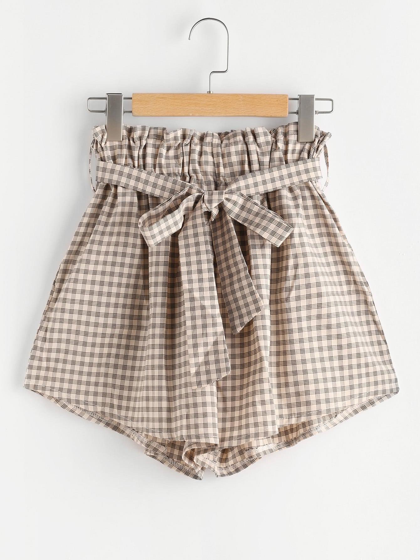 Фото Gingham Print Shorts With Belt. Купить с доставкой