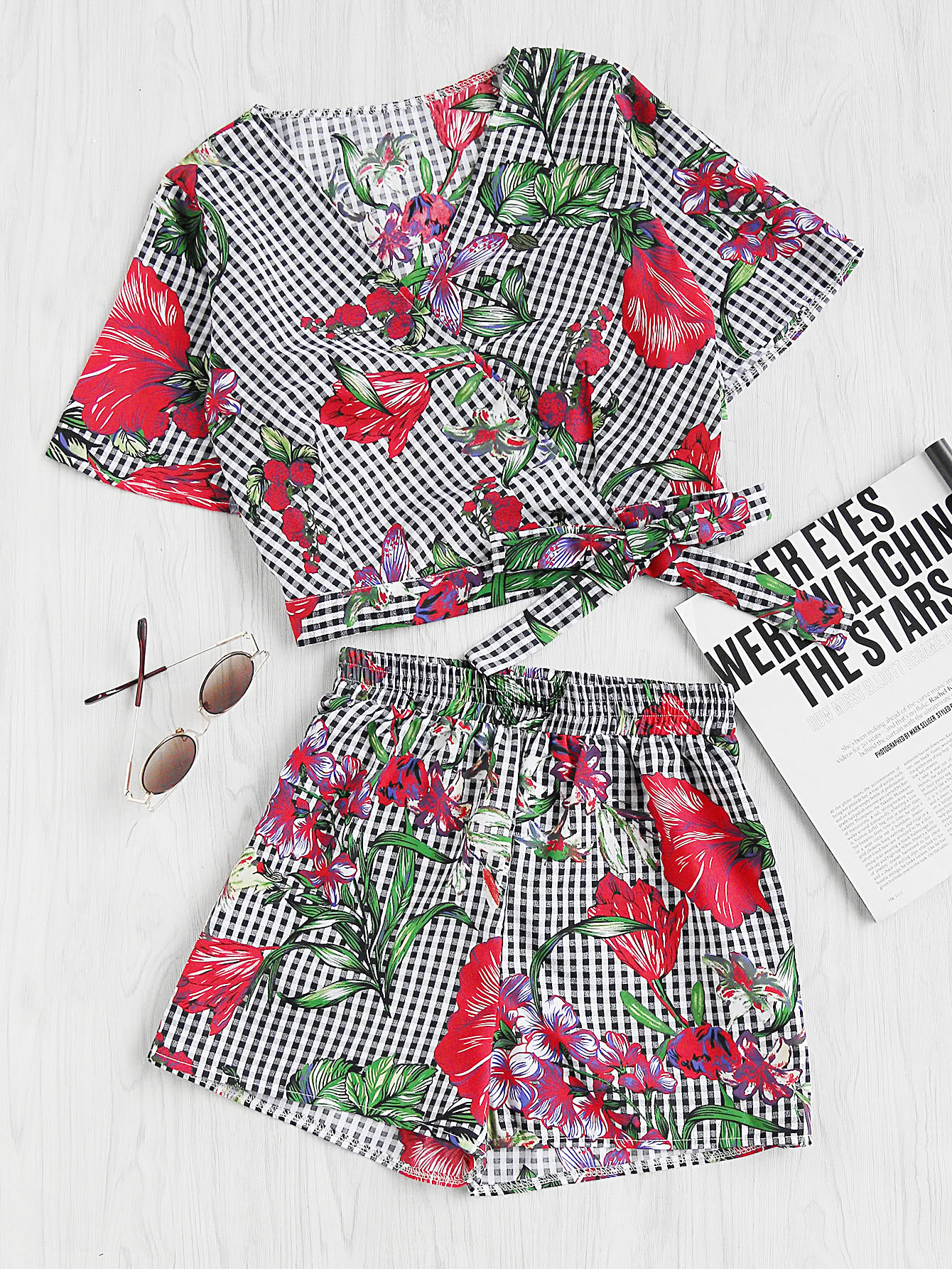 Mixed Print Surplice Wrap Crop Top And Shorts Set twopiece170628454
