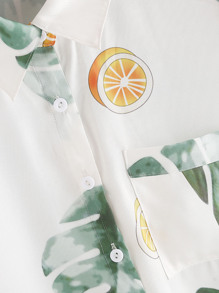 Tropical Print Patch Pocket Front Shirt pictures
