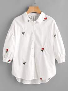 Drop Shoulder Flower Embroidery Bishop Sleeve Blouse