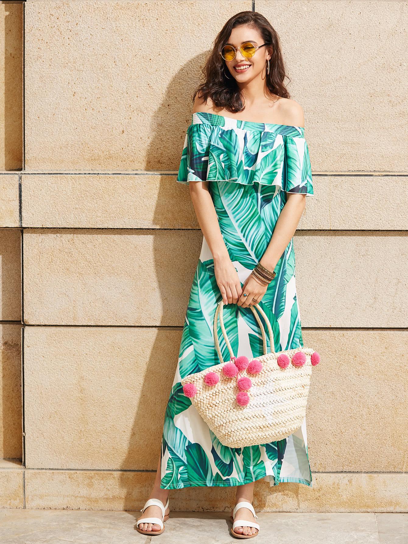 Фото Palm Leaf Print Side Slit Flounce Bardot Dress. Купить с доставкой
