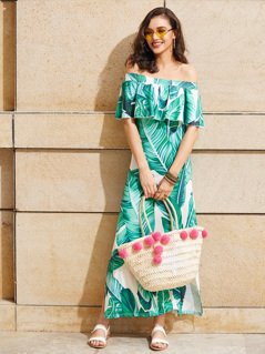 Palm Leaf Print Side Slit Flounce Bardot Dress