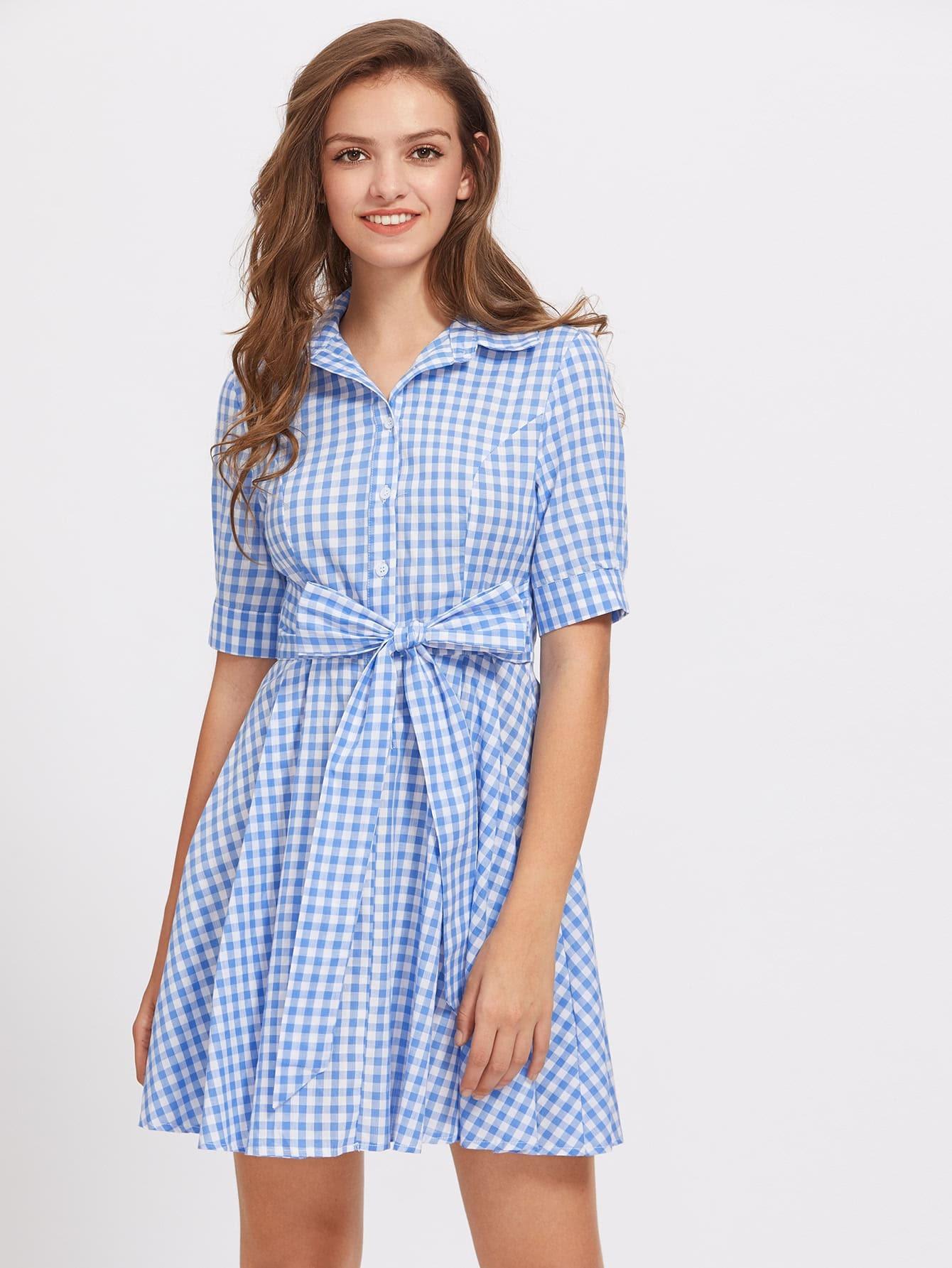 Фото Tie Waist Gingham Shirt Dress. Купить с доставкой
