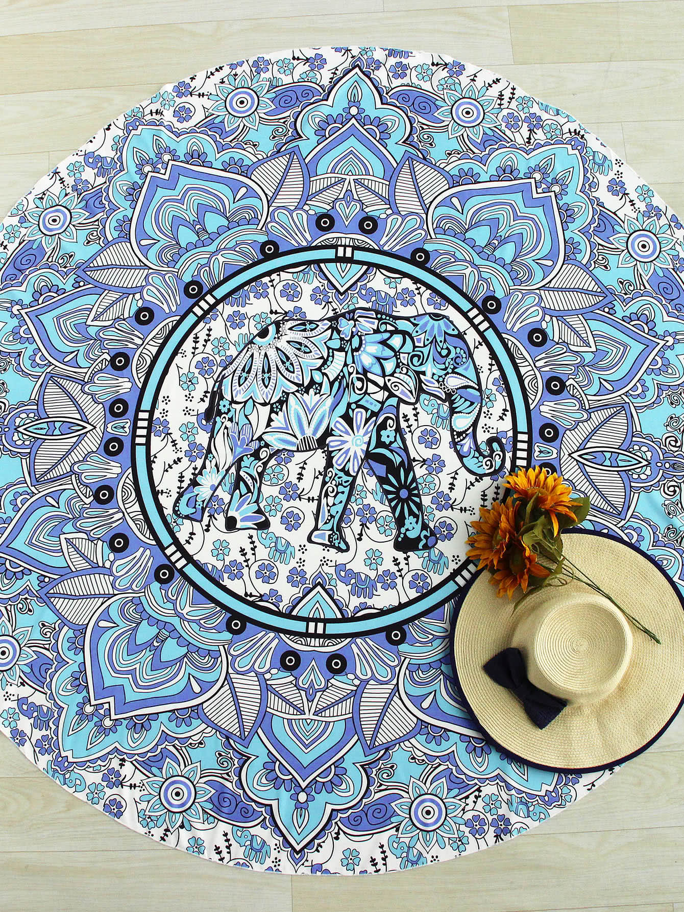 Elephant & Flower Print Boho Round Beach Blanket flower print round coaster
