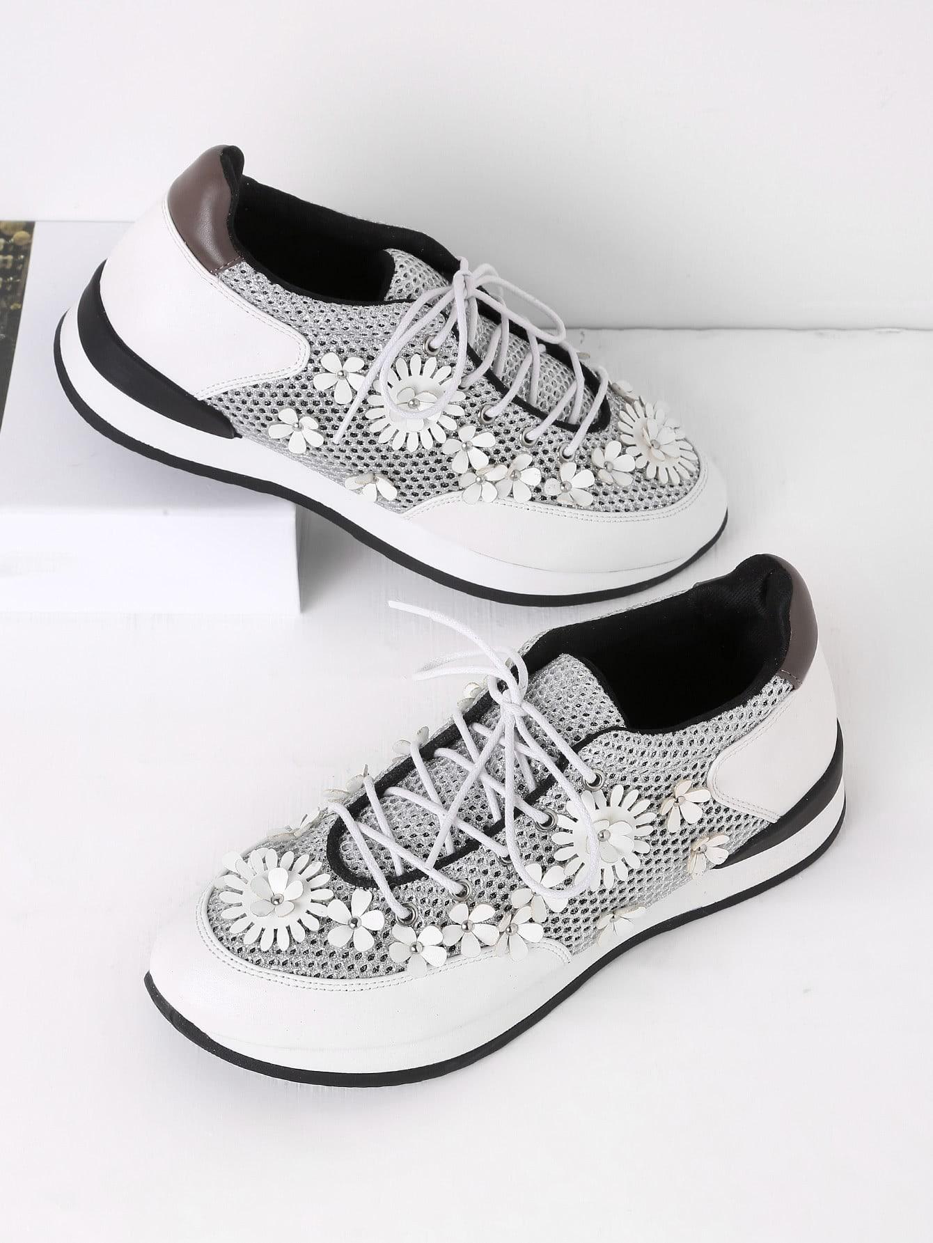 Купить Модные кроссовки со шнуровкой и цветками, null, SheIn
