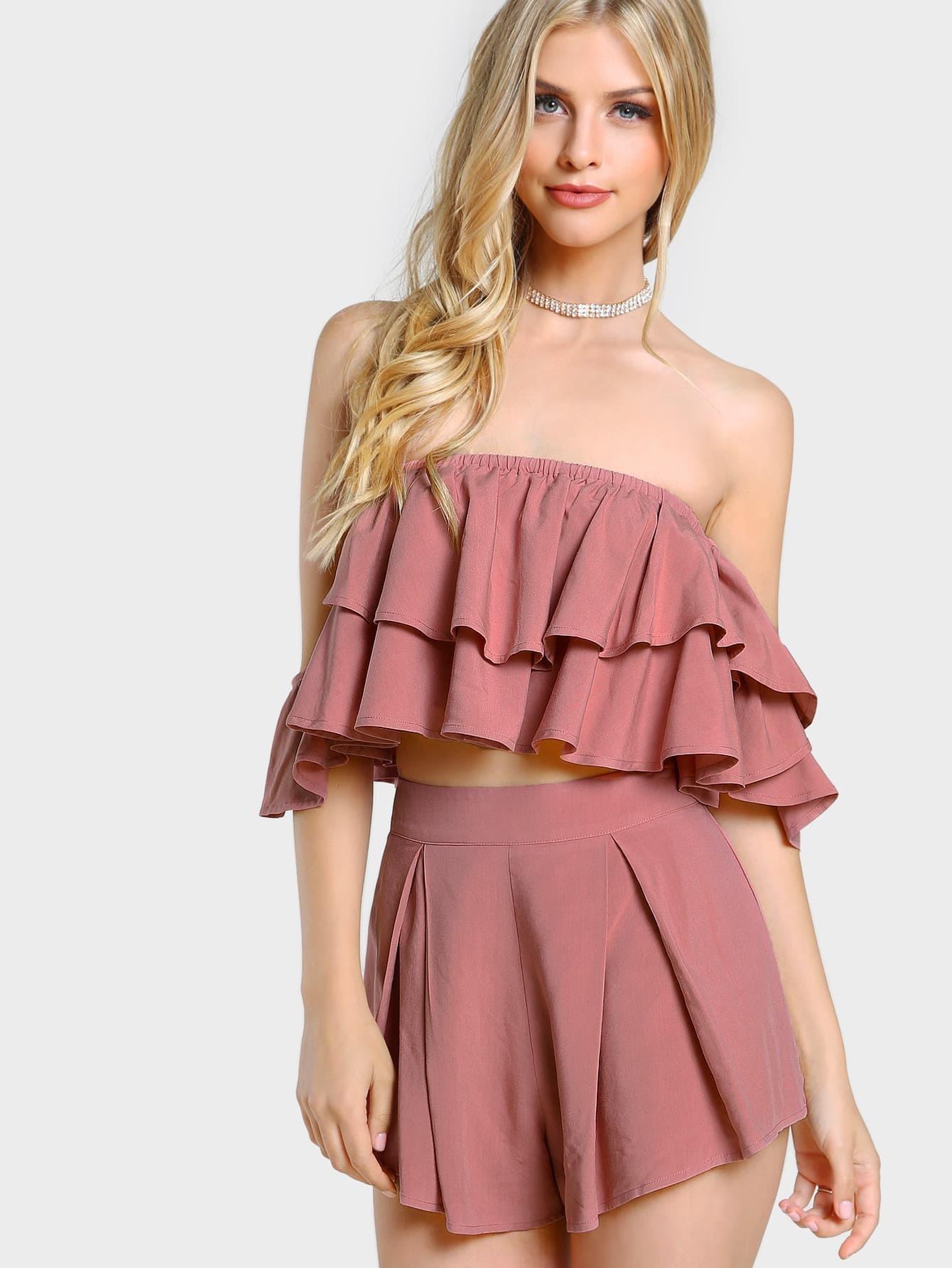 Layered Flounce Bardot Top And Shorts Co-Ord