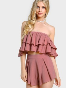 Layered Flounce Bardot Top And Shorts Co-Ord