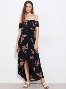 Vestido floral al azar de gasa con hombros al aire