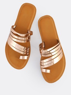 Multi Strap Metallic Toe Ring Sandals ROSE GOLD