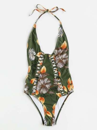 Buy Criss Cross Plunge Neckline Backless Swimsuit swimwear170621312