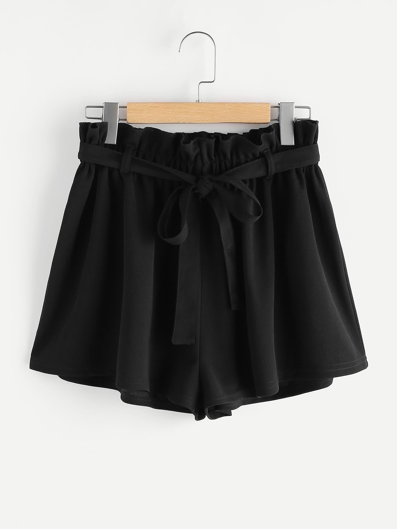 Фото Frill Waist Self Belted Shorts. Купить с доставкой
