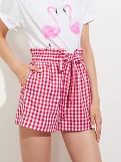 Ruffle Drawstring Waist Gingham Shorts With Hidden Pocket