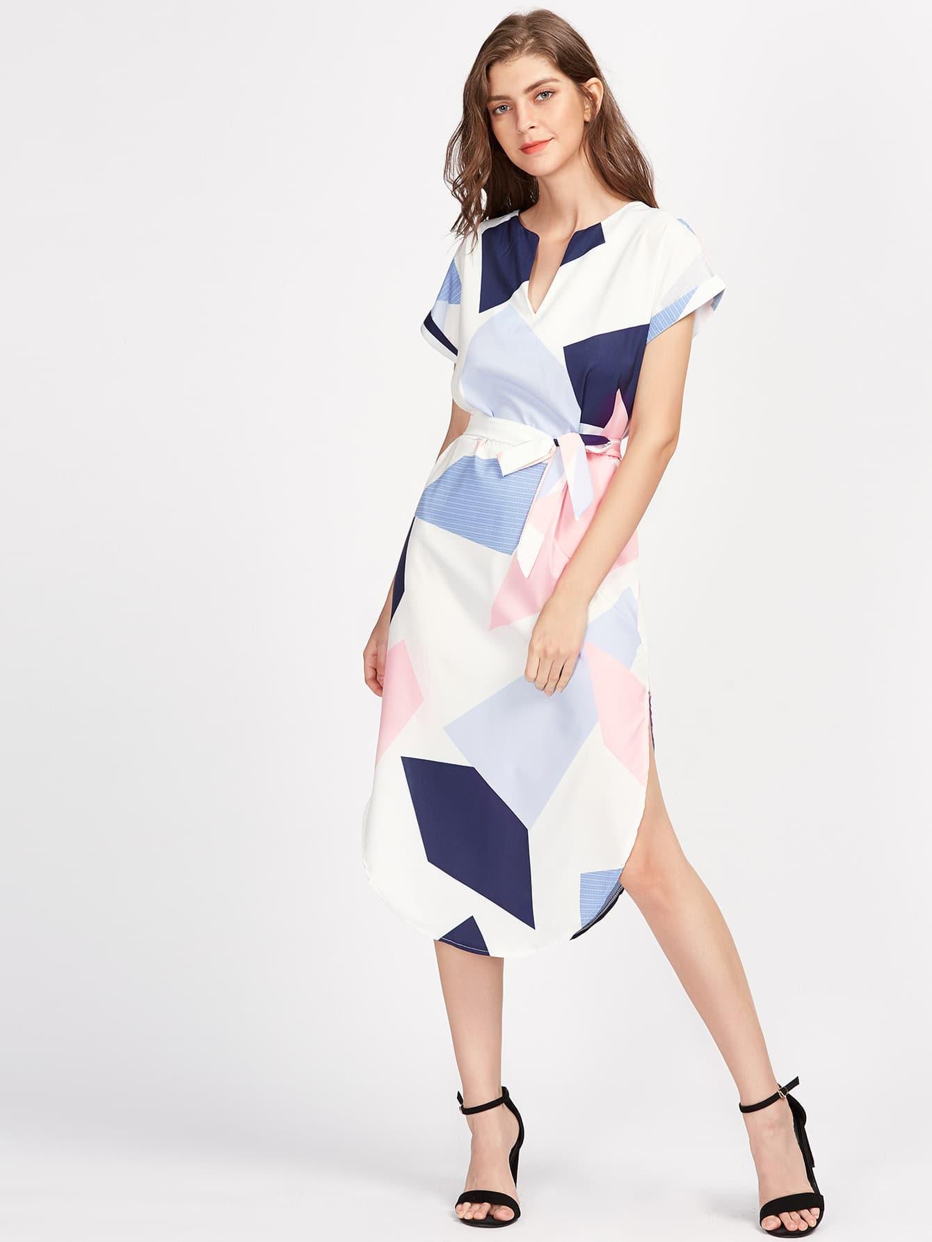 Rolled Sleeve Slit Side Curved Hem Self Tie Dress gathered sleeve curved dip hem gingham dress