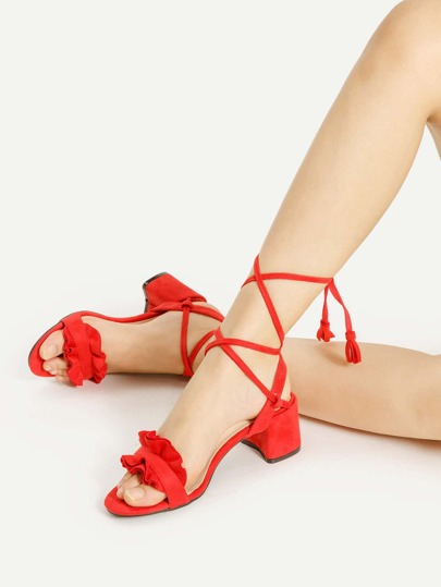 Ruffle Design Lace Up Block Heeled Sandals