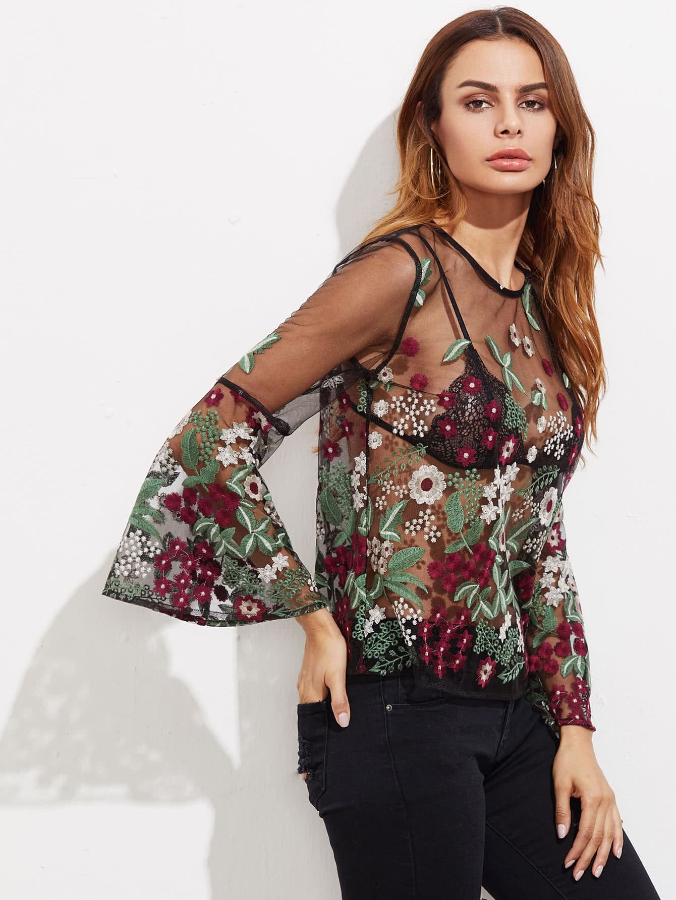 Fluted Sleeve Botanical Embroidered Tulle Top