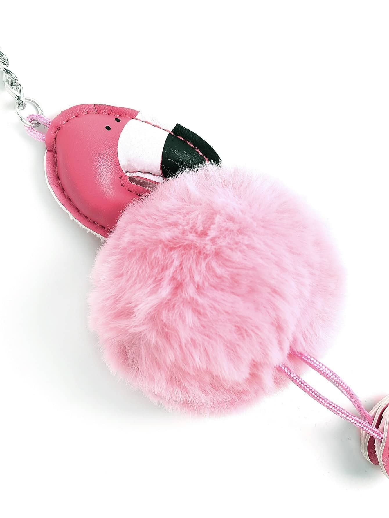 Flamingo Design Keychain With Pom Pom