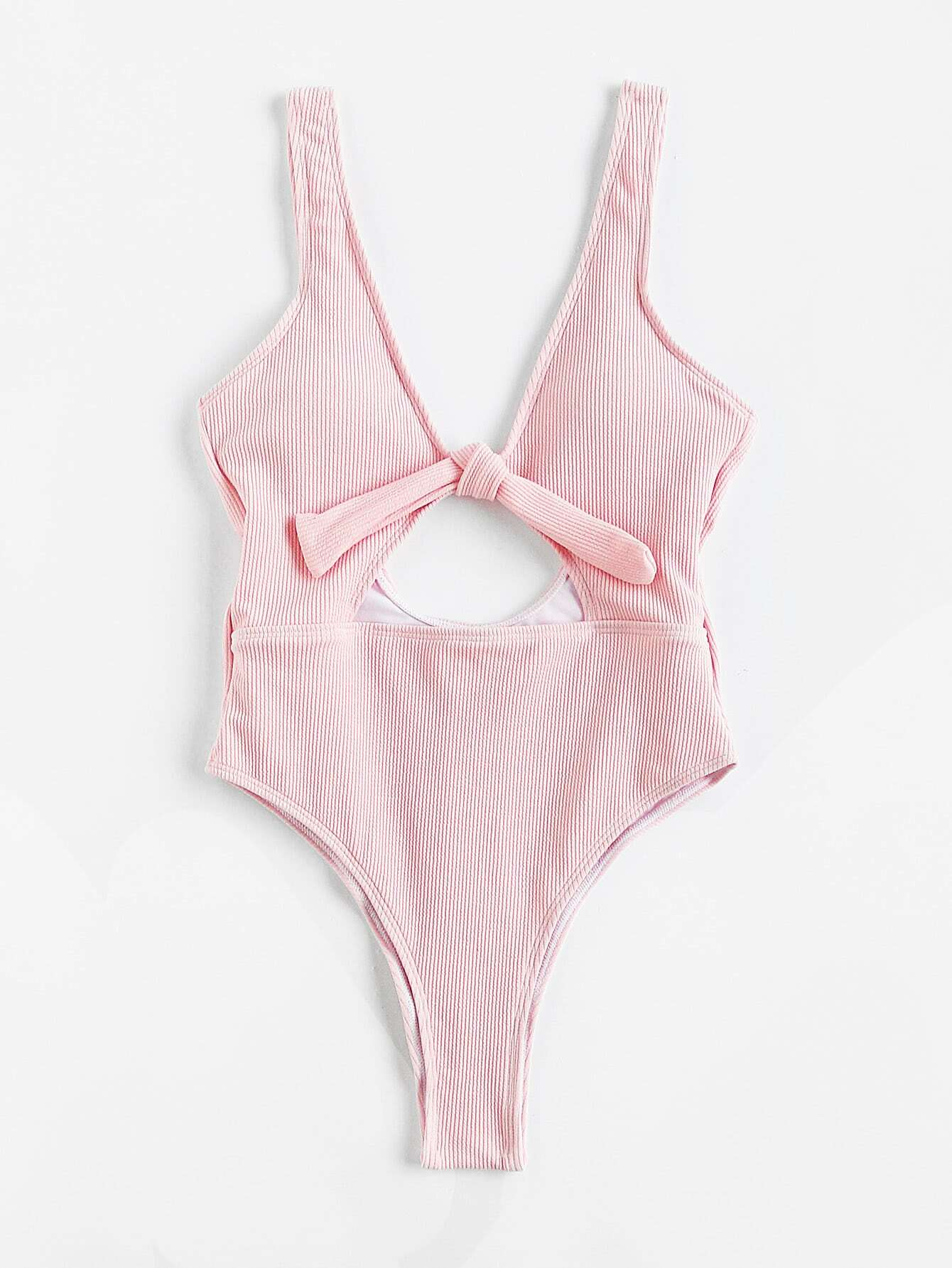 Knot Front Cutout Plunge Swimsuit