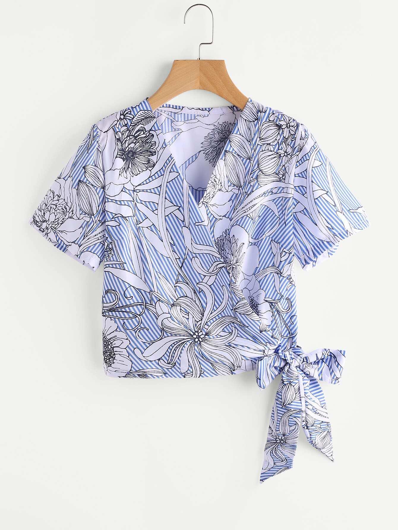 Фото Tropical Print Stripe Tie Detail Top. Купить с доставкой