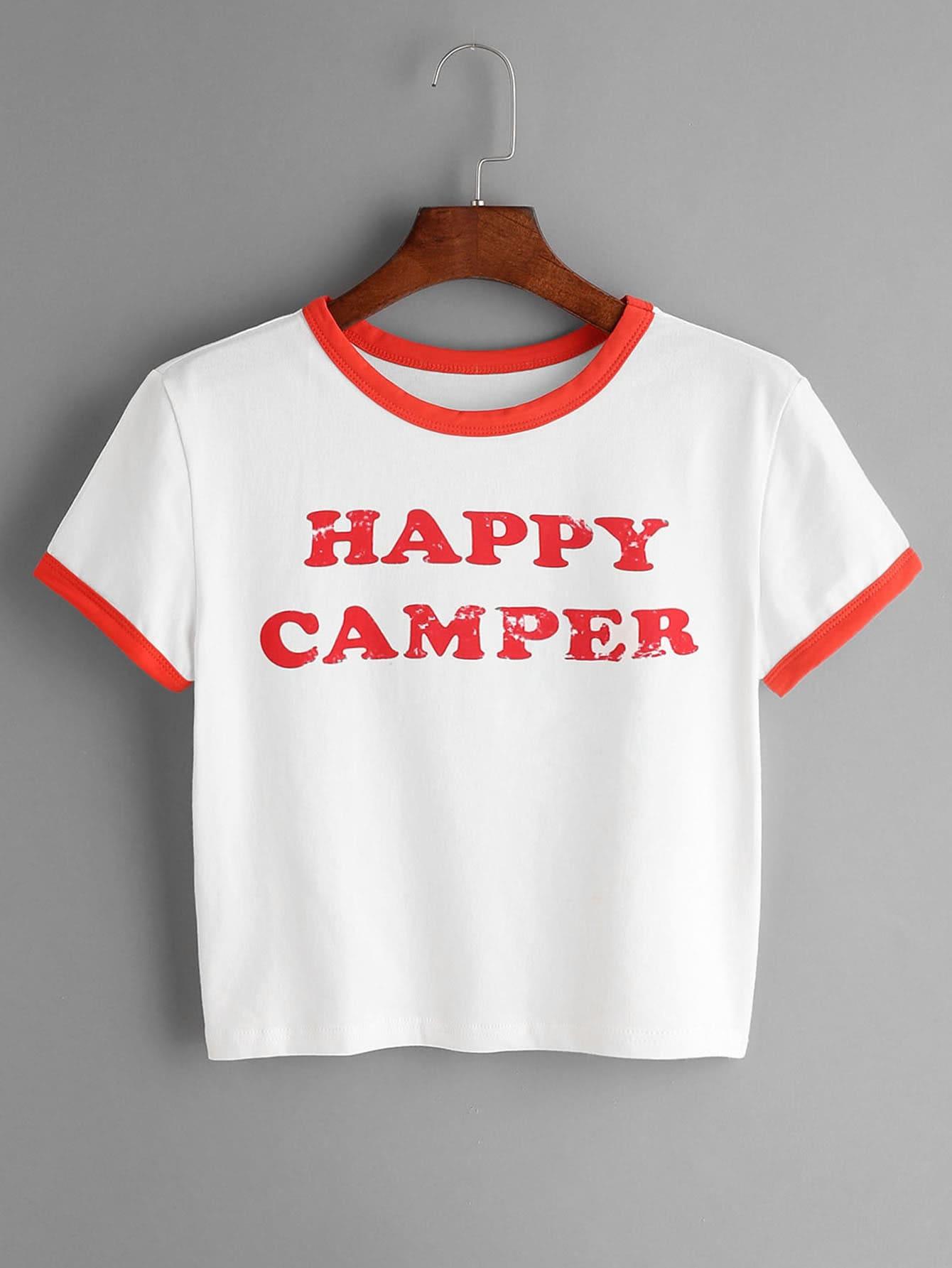 Фото White Contrast Trim Letter Print Crop T-shirt. Купить с доставкой