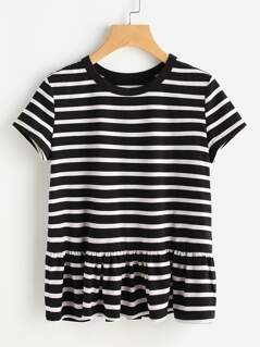 Striped Ruffle Hem Tee