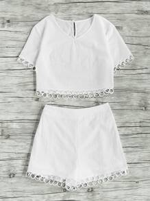 Circle Lace Trim Keyhole Back Crop Top With Shorts