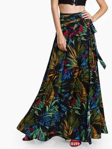 Tropical Print Self Tie Wrap Skirt