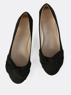 Knotted Bow Ballet Flats BLACK